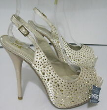 "beige/gold star 5.5""high Heel 1.5"" hidden platform l prom/wedding shoes. size  6"