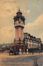 EXETER  DEVON UK-CLOCK TOWER~WILLIAM DAWSON & SONS POSTCARD 1908 PSMK