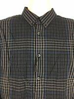 NWT Calvin Klein Slim Fit Mens M Black Blue Gray Check Plaid Button Down Shirt