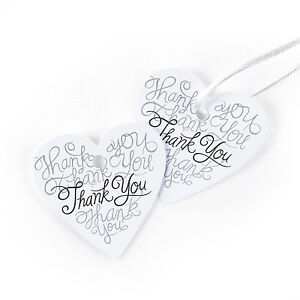 Heartfelt Heart Shaped Thank You Wedding Favor Tags 25/pk