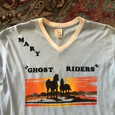 70s VTG HORSE SUNSET GHOST RIDERS Palm Tree XL Ringer Raglan T Shirt BOWLING
