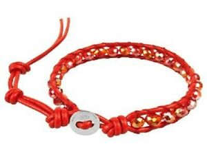 Red Crystal And Leather Wrap Around Silver Bracelet, 19 To 23cm - (V1J 344)