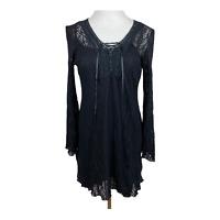 Bisou Bisou Tunic Top L Black Crochet Knit Lace Up Long Bell Sleeve V-Neck Women
