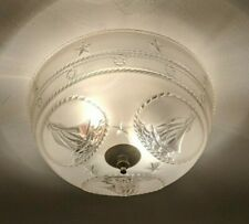 MCM - Art Deco Glass Ceiling Light Fixture Shade with Sail Boats by J.C. Virden