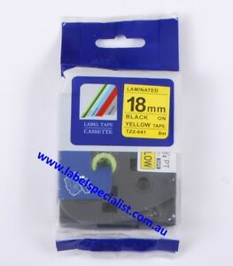Brother P-Touch TZ(e)-641 Laminated compatible18mmx8m Black-On-Yellow Tape