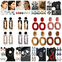 Fashion Woman Bohemia Acrylic Acetate Leopard Circle Hoops Earrings Jewelry New