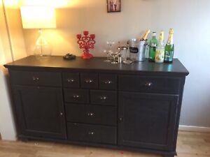 IKEA Sideboard Cupboard Painted In Annie Sloan Graphite Vintage Industrial Style