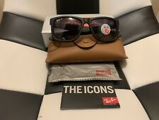 Brand new Ray Ban Justin - Black With Grey Gradient Lens RB4165 601/8G 54-mm