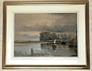 William J. Ferguson: superb well framed large watercolour THE WEED CUTTERS 1866