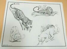 Vintage 1984 RARE Spaulding & Rogers Tattoo Flash Sheet K175 Leopard Big Cats