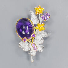 Unique Jewelry Design Amethyst Brooch Silver 925 Sterling  /APBJ-NB0008