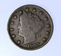 1909 LIBERTY V NICKEL  ++ ORIGINAL FULL LIBERTY COIN ++FREE SHIPPING ++