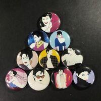 """Patrick Nagel 1"""" Button Pin Set Art Deco Pop Playboy Icon"""