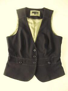 Ladies waistcoat Size 12 NEXT Black Topstitching green Lined Good Xmas VR2