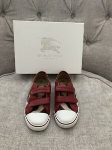AUTHENTIC BURBERRY KIDS DOUBLE-STRAP NOVA CHECK RED LEATHER SNEAKER SZ 32