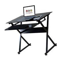 Onespace Ultramodern Glass Computer Desk Black