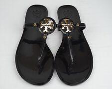 Tory Burch Mini Miller Jelly Black Flat Sandals Flip Flops Size 9