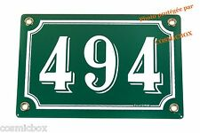 Plaque émaillée NUMERO de RUE 494 vert & blanc émail enamel plate street number