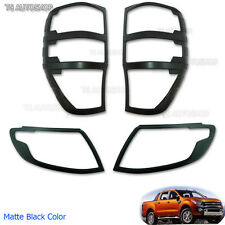Fit Ford Ranger T6 Wildtrak 2012 2013 2014 Set Matte Black Head Tail Lamp Cover