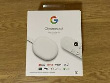 Google Chromecast (2020) with Google TV and Voice Remote - Snow - Mint Condition