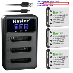 Kastar Battery Triple Charger for Fujifilm NP-45 NP-45A BC-45 Fuji FinePix XP10