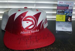 Atlanta Hawks Vintage Logo Athletic Sharktooth Snapback Hat Mookie Blaylock Auto