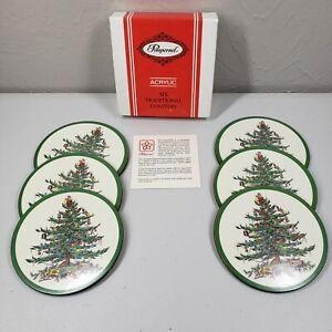 Pimpernel Christmas Tree Holiday Coasters Set Spode Set Of Six Acrylic Tradition