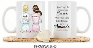 Personalised Mug cup Will you be my Bridesmaid maid of honour Wedding gift