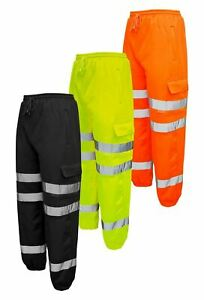 Men's Hi Vis JOGGING BOTTOMS Combat Trousers Work wear Safety Sweat Pants
