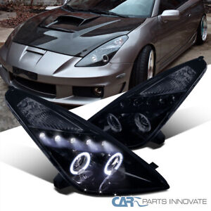 For Toyota 00-05 Celica Black LED Halo Projector Headlights Head Lights Lamps