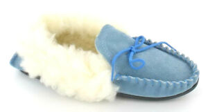 LADIES FUR LINED MOCCASIN SLIPPERS (REAL SUEDE moccasin) Blue