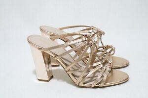 MIMCO Size 9 Womens Glitz Rose Gold/Shimmer Mule Straps Open Toe Block Half Shoe