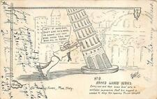 THE LEANING TOWER OF PISA ITALY COMIC AYRES ARTIST SIGNED MILITARY POSTCARD 1919