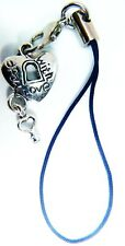 Antique Silver 'OPEN WITH LOVE' LOCK & KEY Phone Charm Gift Bag iPhone SAMSUNG