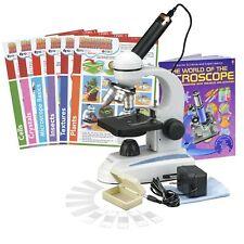 AmScope 40X-1000X Student Metal-Frame Microscope Kit + Camera, Slides & Book