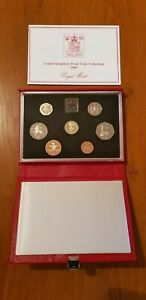 ROYAL MINT PROOF SET. Red Deluxe Leather Box 1985 Birthday Gift Coin Year Set.