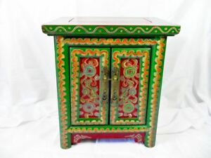 VINTAGE ANTIQUE SMALL CUPBOARD WITH COLOURFUL FENG SHUI ARTWORK,  FROM CHINA