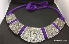 Radha Krishna Tibetan Silver Tone Necklace Neck Line Collar Jewelry Purple Cord