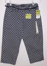 NWT! LEE Natural Fit Instantly Slims Navy Geo Stretch Capri Pants, $48, Sz 4 M