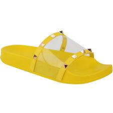Womens Flat Slip On Sandals Slides Summer Studded Mules Perspex Sliders Holiday
