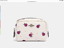 Coach 2492 Ladybug Mini Boxy Cosmetic Case Makeup Bag Chalk Red Multi