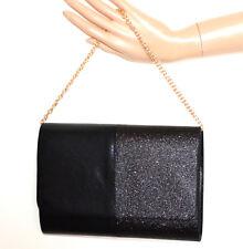 BOLSO CLUTCH bag mujer NEGRO  glitter elegante cadena dorada sáčok táska G24
