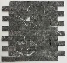 anthraziter Wandverblender aus echtem Marmor Klinker Riemchen bruchrauh 28x30cm