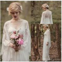 Vintage Fairy Lace Beach Wedding Dresses Long Sleeve V-neck Boho Bridal Gown