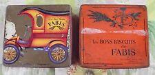 2 Ancienne Boite Vide pour Biscuit Fabis Sérigraphie Voiture Délivery Wagon 1904