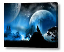 Wolf Canvas Print Wall Art Premium Howling Wolf in Moonlight Blue 20 x 16 A2