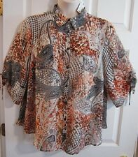 AVENUE Women's 18-20 Semi-Sheer Paisley Button Up S/S Polyester Shirt Career