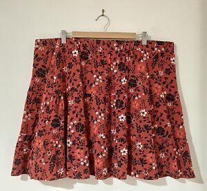 City Chic Plus Size L 20 Skirt Mini Short Flare Burnt Orange Black Floral