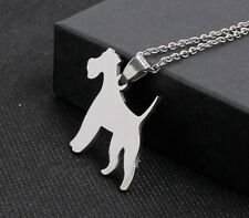 Stainless Steel Smooth Wire Miniature Fox Terrier Pet Dog Id Tag Charm Pendant