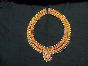 Four (4) Vintage African Maasai Beaded Tribal Collar Necklace